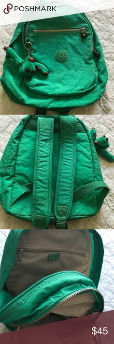 Kipling Seoul Small Backpack- Green Lightly used backpack. Great condition. Fully functional zippers.  No rips, stains or tears. Kipling Bags Backpacks