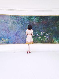 Monet's water lilies mural at the Musee de l'Orangerie, Paris, France