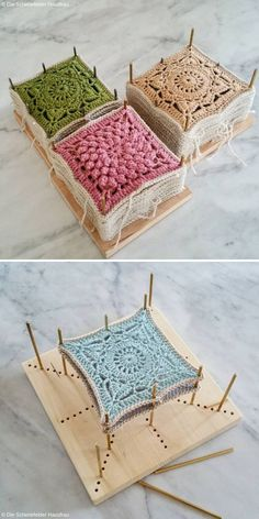 What is Crochet Blocking? - Article on Crochetpedia - Blocking is a technique of stabilizing pieces of crochet, applied with the aim of granting them a d - Crochet Square Patterns, Crochet Motifs, Crochet Blocks, Crochet Squares, Crochet Blanket Patterns, Crochet Stitches, Afghan Patterns, Crochet Blankets, Granny Squares