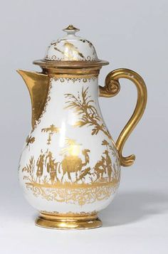 A hot water jug and cover. Circa 1725-30  Meissen Hausmaler
