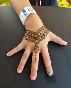 I did this cute little henna design for a little girl and she loved it! Henna Designs For Kids, Henna Tattoo Designs Simple, Finger Henna Designs, Beautiful Henna Designs, Best Mehndi Designs, Bridal Mehndi Designs, Henna Tattoo Hand, Henna Mehndi, Mehendi