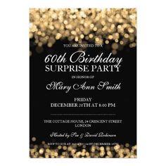 Elegant Surprise Birthday Party Gold Lights Card 60th Invitations