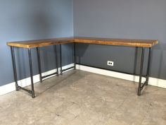 Reclaimed Wood Corner Desk Which Furnished With Metal Pipe Pedestal Bases As Well As Home Office Furniture L Shaped Desk Also Ikea L Shaped Desks