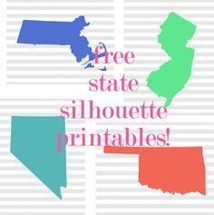 Free state silhouette printables for @ AnnNorton Vinyl Crafts, Vinyl Projects, Crafts To Do, Craft Projects, Metal Crafts, Silhouette Cameo Projects, Silhouette Design, Silhouette School, Shilouette Cameo