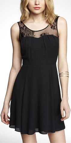 MIXED MEDIA FIT AND FLARE DRESS BLACK