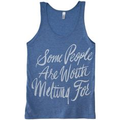Worth Melting for Tank Frozen Unisex Shirt (20 CAD) ❤ liked on Polyvore featuring tops, shirts, tank tops, tanks, unisex shirts, blue tank, pattern shirts, blue tank top and blue shirt
