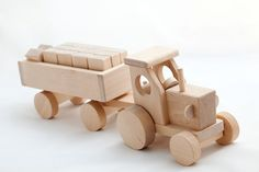 Natural Wood tractor with blocks by thewoodenhorse on Etsy, $33.00