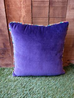 Purple Velvet Cushion piped all around with ANY of our beautiful striped fabrics. Velvet Cushions, Purple Velvet, Cotton Velvet, Striped Fabrics, Stripes, Throw Pillows, Stuff To Buy, Beautiful, Color