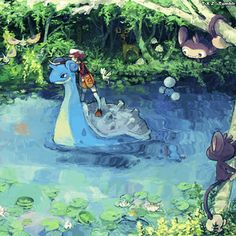 songs for when your pokemon journey is going just swimmingly (all from pokemon games& ost) Lapras Pokemon, Fan Art Pokemon, Oc Pokemon, Pikachu, Pokemon Comics, Photo Awards, Cg Art, Catch Em All, Travel Memories