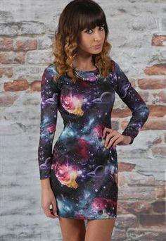 Galaxy Print Bodycon Dress