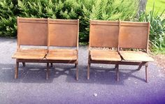 ANTIQUE DOUBLE FOLDING THEATRE SEATS CHAIRS READSBORO CHAIR CO 2 SETS