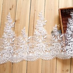 Corded scalloped lace floral trim in off white for bridal, veils, borders, garments