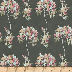 Art Gallery Cherie Tree Fleur Sombre from @fabricdotcom  Designed by Frances Newcombe for Art Gallery, cotton print is perfect for quilting, apparel and home decor accents. Art Gallery Fabric features 200 thread count of finely woven cotton. Colors include tan, mint, hot pink, and cream on a charcoal background.