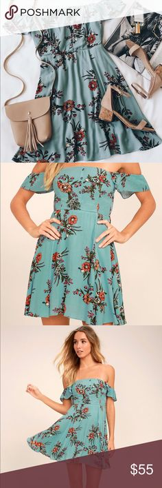LIGHT BLUE FLORAL PRINT OFF-THE-SHOULDER DRESS Lulus Exclusive! Everyday's a daydream in the One Sweet Day Light Blue Floral Print Off-the-Shoulder Dress! Gauzy woven rayon, in an olive green, orange, fuchsia, and beige floral print, shapes an elasticized off-the-shoulder neckline (with no slip strips) and ruffled, short sleeves. Princess seamed bodice, with button placket, tops a fitted waist, and full skater skirt. Elastic at back for fit. Fully lined. Self: 100% Rayon. Lining 100%…