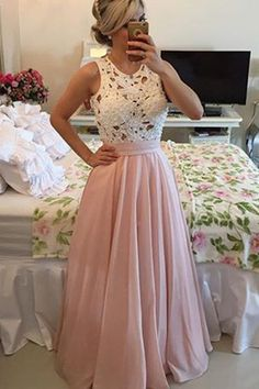 prom dresses 2016, long prom dresses, pink prom dresses with white lace top