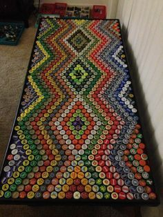 Bottle cap crafts is a fantastic way to make the most out of a bottle top collection that you& not sure what to do with. The type of art . Beer Cap Table, Bottle Cap Table, Beer Bottle Caps, Bottle Cap Art, Beer Caps, Beer Bottles, Beer Pong, Bottle Top Crafts, Bottle Cap Projects