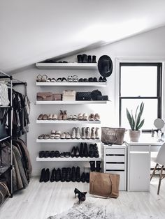 This shoe closet design was the perfect addition to my closet. Not only does it organize my space, it creates a nice minimal style throughout! Shoe Room, Shoe Wall, Black Window Trims, Closet Renovation, Glam Room, Minimalist Closet, Beauty Room, Luxury Apartments, New Room