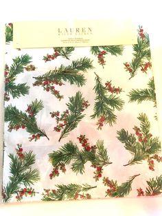 """Ralph Lauren Cedarberry White Print Table Runner 15"""" x 72"""" Christmas Winter NEW #RalphLauren"""