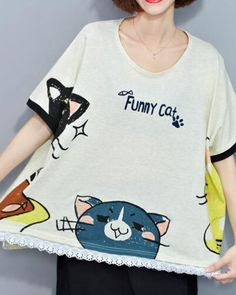 Funny cat t shirt for girls white short sleeve tops