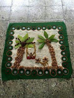 Rangoli using materials, used to worship goddesses of Maharashtra.