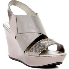 Kenneth Cole Reaction Sole Less 2 Wedge Sandal ($50) ❤ liked on Polyvore featuring shoes, sandals, pewter, platform shoes, platform sandals, pewter sandals, pewter wedge sandals and open toe platform sandals