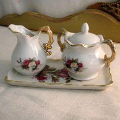 Vintage Mini Sugar Creamer Set HP Roses Gold Trim