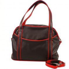 Kleiner Weekender Lazy (Aubergine und rot) / Small leather weekender Lazy color eggplant and red