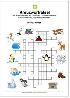 Ein kostenloses Kreuzworträtsel für Kinder in der Grundschule zum Thema Winter für die 1. und 2. Klas