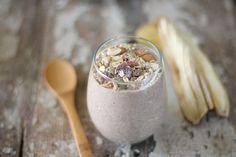 Nutrition Stripped | Banana Yogurt | http://nutritionstripped.com. Almond milk, cashews, banana, chia seeds, cinnamon