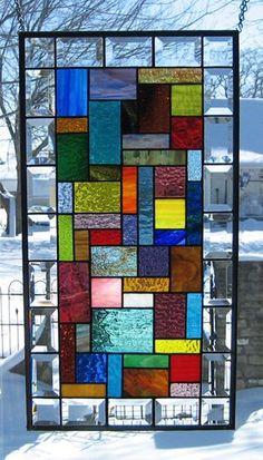 Energy Stained Glass Window Panel Abstract Geometric EBSQ Artist – Verre et de vitrailes Faux Stained Glass, Stained Glass Designs, Stained Glass Panels, Stained Glass Projects, Stained Glass Patterns, Leaded Glass, Tiffany Glass, Glass Wall Art, Mondrian