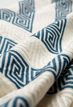 """Close-up ... Greek key chevron upholstery fabric from Schumacher! Fabric name:  """"Nebaha Embroidery"""" -p/o Schumacher's Fall 2011 collection."""