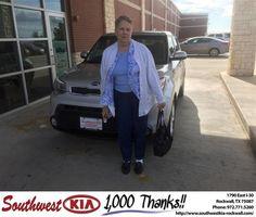 https://flic.kr/p/B2dA7X | Congratulations Wilma on your #Kia #Soul from Don Weintraub at Southwest KIA Rockwall! | deliverymaxx.com/DealerReviews.aspx?DealerCode=TYEE