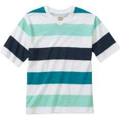 Faded Glory Boys' Short Sleeve Stripe V Neck Tee