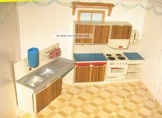 Konvolut Vero Möbel Küche Schrank Puppenstube Puppenhaus Puppenhausmöbel Bastler Original, gefertigt vor 1970 Bild