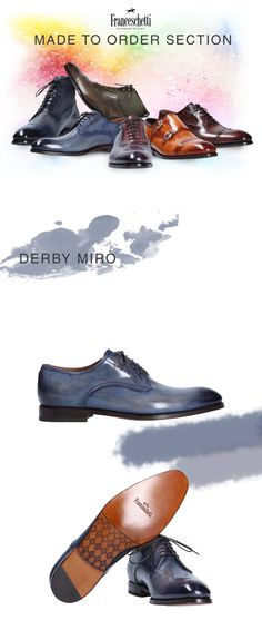 Hand painted and made shoes in Italy. Blue derby shoes by #franceschettishoes #luxury #handpainted #style #classic #colours #gentleman #fashion #men #man