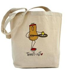 Tennis Nut Tote Bag> Tennis Nut Tshirts and Gifts> Stick Figure Shop. So will get this for my sister.