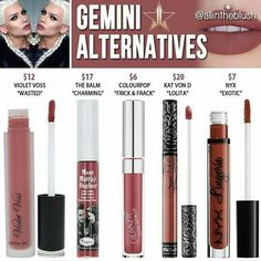 Dupes for Jeffree Star& Gemini lipstick Kylie Lip Kit Dupe, Kylie Jenner Lip Kit, Kylie Dupes, Jeffree Star Gemini, Lipstick Dupes, Liquid Lipstick, Lipsticks, Jeffree Star Cosmetics Dupe, Eyeshadow Dupes
