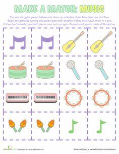 Worksheets: Music Memory Game