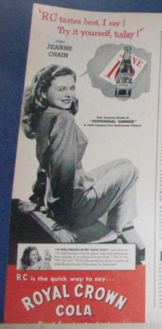 """1946 Royal """"Crown"""" RC Cola Display Ad. Note the """"Betty Grable"""" pin up pose, illustrating a pervasive belief that """"sex sells"""" (anything)---even cola!"""