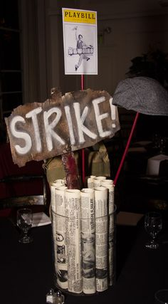 Newsies Centerpiece Broadway Bat Mitzvah #BatMitzvahCenterpiece for rent sweet sixteen centerpiece