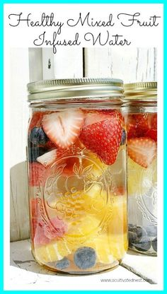 How to make this refreshing and delicious mixed citrus-berry infused water. So much better for you than soda! Put it in a mason jar for a pretty presentation for your guests.