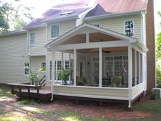 Screen porch idea. At Brook Rd the porch shot out at the side of the house by 2 foot. allowing you to see anyone coming up the side of the house. Eliminates evesdroppers.