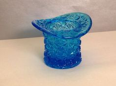 Vintage Fenton Blue Daisy & Button Top Hat Toothpick Holder in Pottery & Glass, Glass, Art Glass | eBay