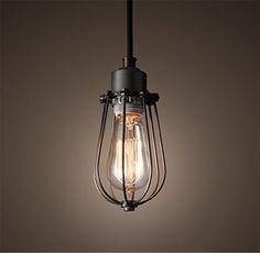 Purelume Retro Vintage Käfig Lampe Pendelleuchte Schwarz inkl. 40W Edison Glühbirne