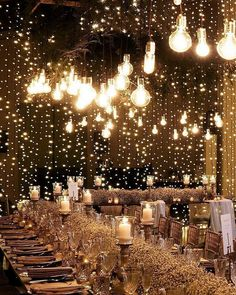 Wedding Lighting Ideas for Rustic Country Wedding Reception wedding lights 20 Creative Ideas for Wedding Reception Lighting Wedding Themes, Wedding Venues, Xmas Wedding Ideas, Formal Wedding Decor, Wedding Reception Decorations Elegant, Indian Wedding Receptions, Wedding Dresses, Indian Wedding Decorations, Fall Wedding