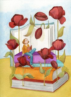 Spring flowers among the leaves: spring of books Brotan flores entre las hojas: primavera de libros (ilustración de Mónica Carretero)