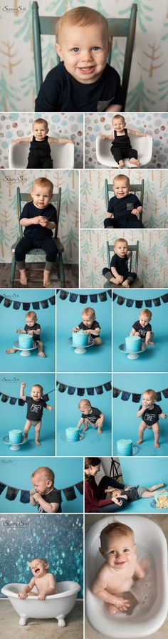 One year old Archer and his amazing cake smash session in studio. Sunny S-H Photography Winnipeg