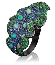 Cellini Jewelers, Wendy Yue Leaf Ring Wendy Yue established her atelier in 1998 and has since become one of the most renowned Hong Kong jewlery designers for creating unique pieces representing the magic of nature. This ring uses a unique combination of opals, sapphire and tsavorite set in blackened 18-karat gold to showcase the artistry in nature.