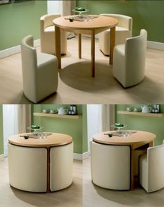 space saving table and chairs.I wonder if you could build these with frame, foam and cover. I would love to do it to match décor or to do a mini set for in a kids playroom house design with kids Round Dining Table & Chairs for Small Homes