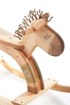 Wooden Rocking Horse, Kids Natural Toy